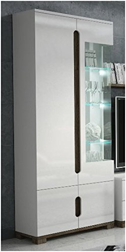 Lorenz High Gloss White Display Cabinet 1 Glass Door P9rxls 22 By