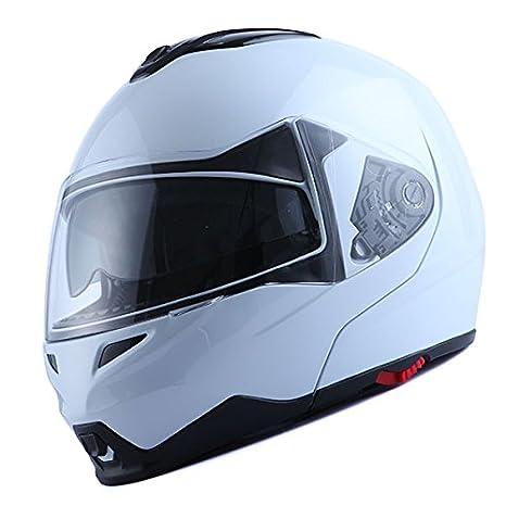 Amazon.com: 1Storm Motorcycle Street Bike Modular/Flip up Dual Visor/Sun Shield Full Face Helmet (GlossyWhite, Medium): Automotive