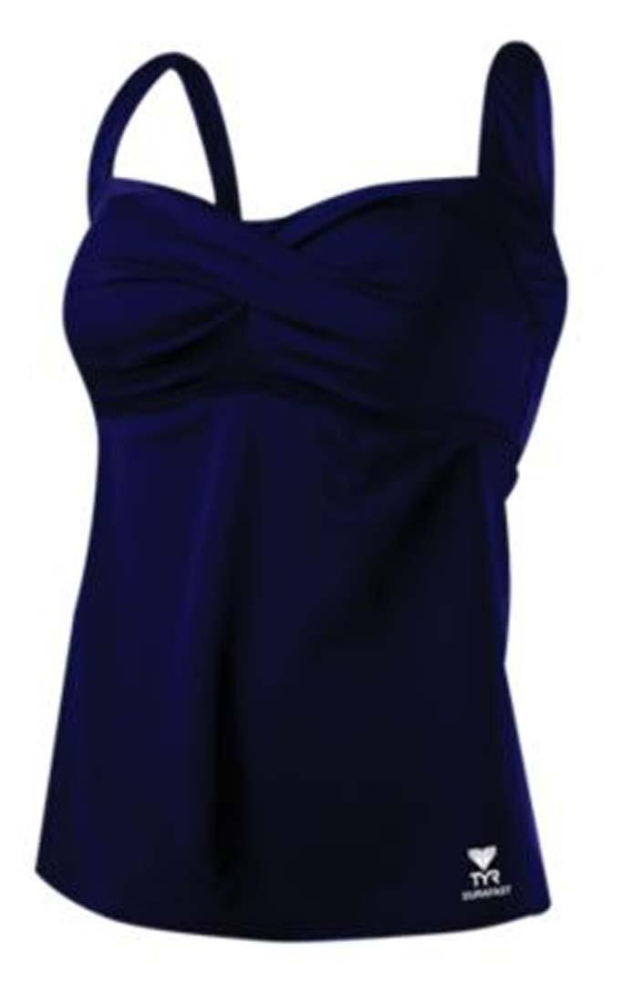 TYR Women's Twisted Bra Solid Tankini Top (Navy, 8)
