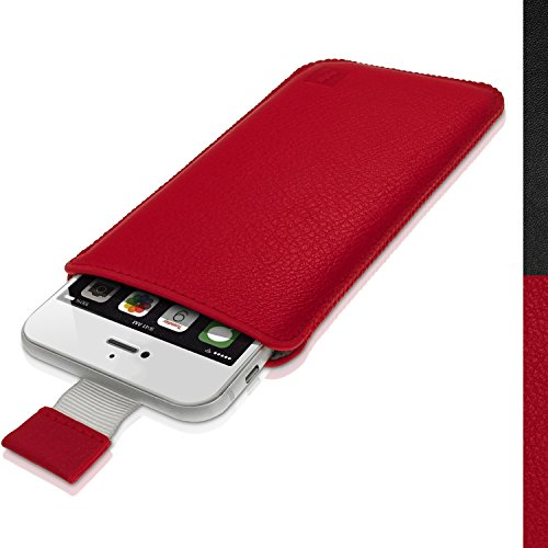 iGadgitz Premium Pouch Sleeve Red Leather Case Cover for Apple iPhone 7, 6S & 6 4.7