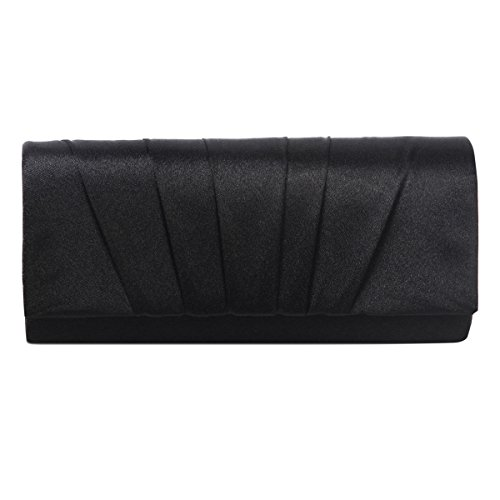 Damara Womens Satin Pleated Clutch Bag Wedding Bridal Prom Evening Handbag,Black, Large
