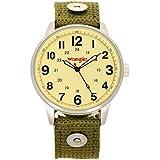 Wrangler Men's Watch, 42mm Silver Case, Yellow Face, Green Nylon Band, Second Hand (WRT2103-5B3)
