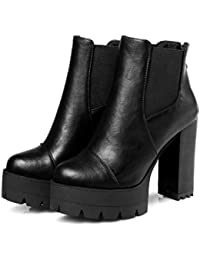 Sexy Women Boots Fashion Platform punk Square high heels Black Ankle boots For Woman Design Ladies Shoes