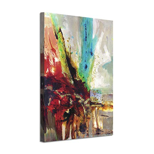 Floral Abstract Canvas Wall Art: Color Explosion Gold Foil Artwork on Canvas for Decoration