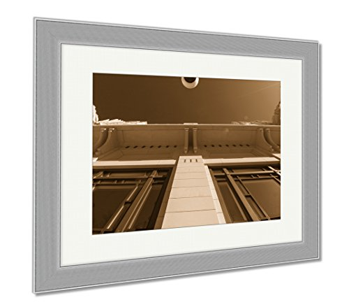 Ashley Framed Prints Bass Performance Hall Fort Worth Tx, Contemporary Decoration, Sepia, 26x30 (frame size), Silver Frame, - Fort Worth Sundance Tx