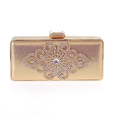 (Women Evening Bag Polyester All Seasons Wedding Event/Party Formal Party & Evening Club Minaudiere Rhinestone Clasp LockSilver Black Gold,Gold)