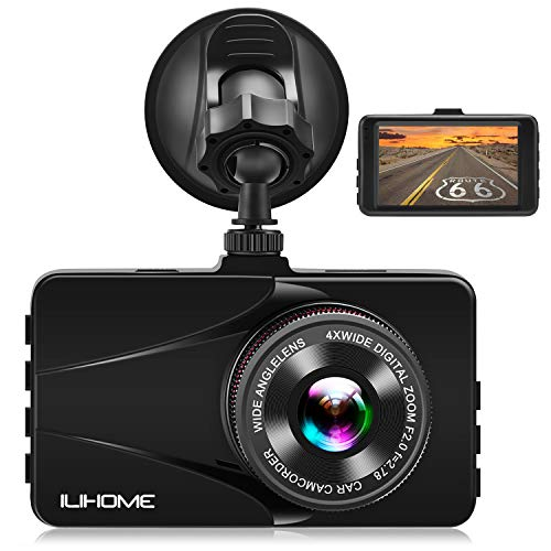 ?Alloy Shell? Ilihome Dash Cam Full HD 1080P Car Camera 3.0 Screen Dashboard Camera DVR Car Recorder with G-Sensor, WDR, Loop Recording, Motion Detection, Night Vision, Parking Monitor