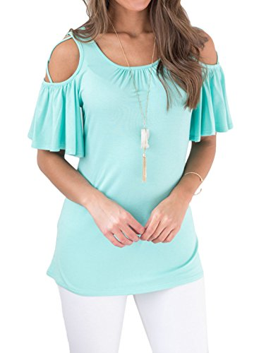Malluo Women's Criss Cross Cold Shoulder Tunic Blouse Gathered Neck Short Ruffle Sleeve Tops Basic T Shirt(Blue, XL) ()