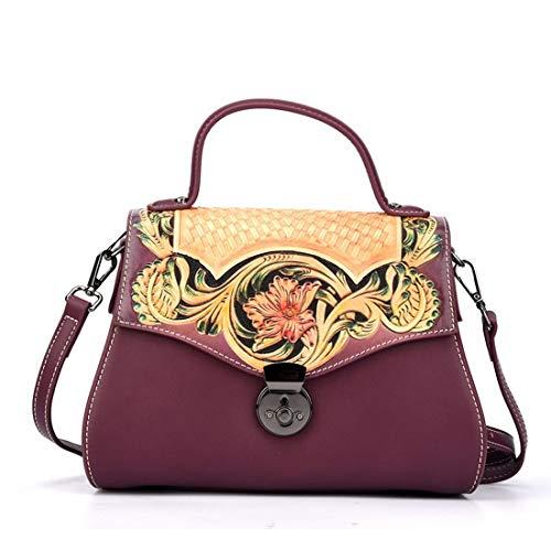 Flower Purple Lock Con Decorazione Bag Tracolla Shoulder color In Borsa Fashion Shizheshop A Brown Pelle Mano 4qfZz