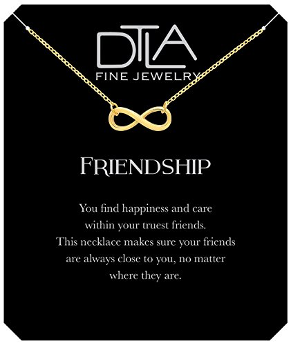 DTLA Friendship Infinity Necklace in Sterling Silver with Inspirational Quote Card - Gold Plated