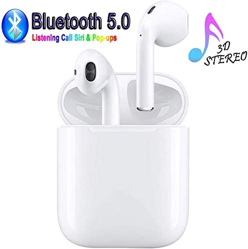 Wireless Bluetooth Headset, Wireless Headset Stereo Bluetooth Headset in-Ear Built-in Handsfree Microphone for Apple Airpods Android iPhone