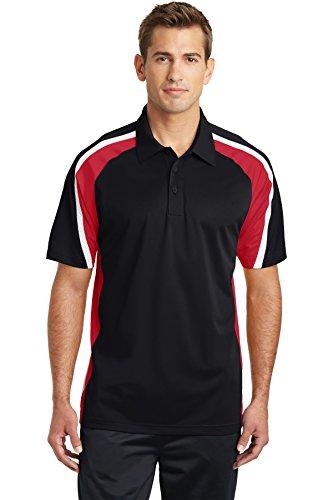 Sport-Tek Men's Tricolor Micropique Sport Wick Polo XL Black/True Red/White