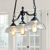 Log Barn 3 Lights Island Hanging Lighting for Kitchen Island in Rusty Black Metal Finish with Clear Glass Shades, 38.1'' Large Chandelier Pendant Light, A03297