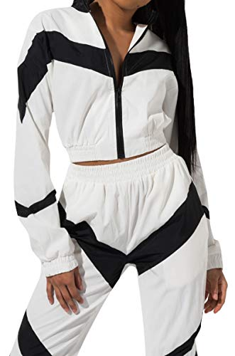 (AKIRA Women's Sporty Chevron Stripe High Neck Cropped Zip Front Jacket Top-White_L)
