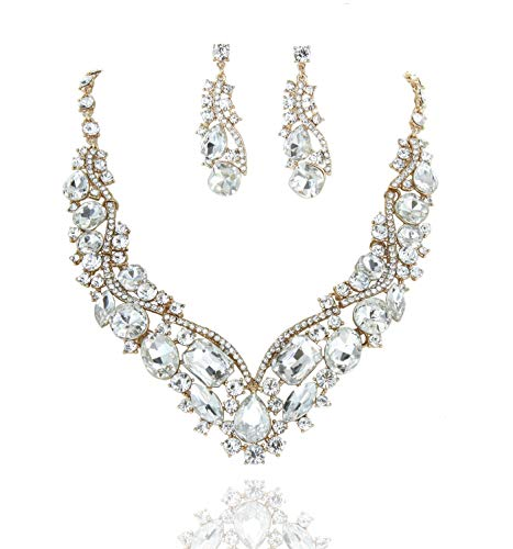 SP Sophia Collection Women's Wedding Bridal Austrian Crystal Necklace and Earrings Jewelry Set in Gold ()
