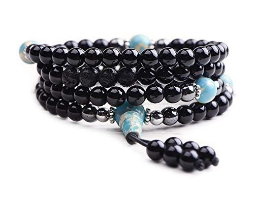 (Onyx Bracelet - Prayer Beads - Anxiety Bracelet - Wrap Bracelet - Mala Beads - Tibetan Bracelet)