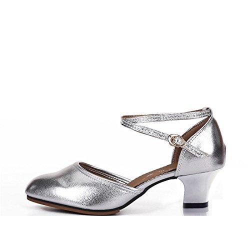 de Latino Cuero Las de Silver de Suave Suave de de Baile Zapatos Zapatos Mujeres Baile Salón para Baile Zapatos Cuero de Zapatos Fondo Cuadrados de Adultos Wxmddn de de Baile wqIZtpx