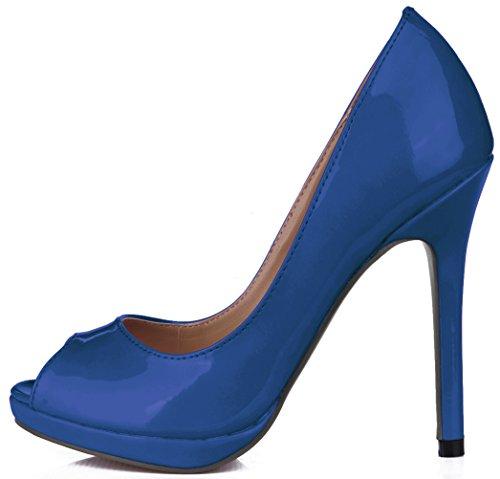 sur cuir femmes de la haute du en de verni poissons talon la Blue de chaussures chaussures des pointe réformateur goût Cliquez l'automne Fq4xwzdFp