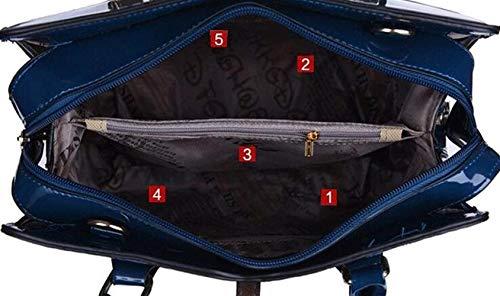 nero Tracolla Da Dimensione Cachi Medium Mano Messenger Pelle Scuro Blu In colore A Moontang Donna Borsa TqE1z