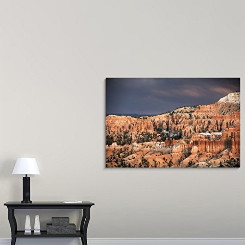 Gallery-Wrapped Canvas entitled Sunlight illuminating the red striped hoodoos in Bryce Canyon Amphitheater, Utah by Circle Capture 60''x40'' by greatBIGcanvas