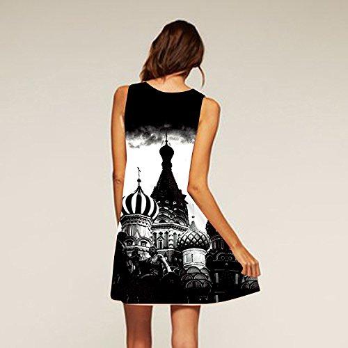 Mujer Flor Impresión Vestido IHRKleid® Vintage Suelto Otoño Vestido Mini Dress Style 19