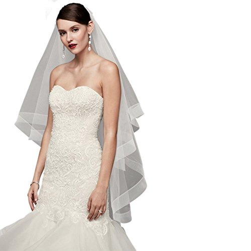 Two-Tier Horsehair Trim Fingertip Veil Style V702, White by David's Bridal