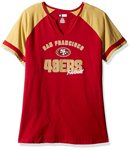 NFL Team Apparel NFL San Francisco 49ers Women S/S NOTCH V NECK TEE, CAR.RED/GOLD, (San Francisco 49ers Womens Apparel)