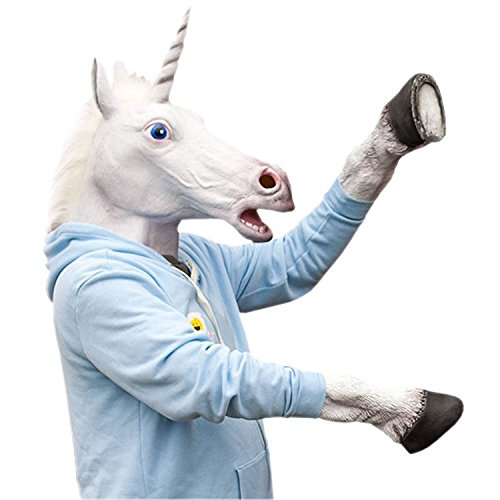 Laylala Novelty Unicorn Head Latex Mask Plus Unicorn Hooves Gloves -