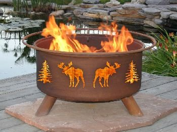 Moose and Tree Fire Pit (Moose Fire Pit Ring)