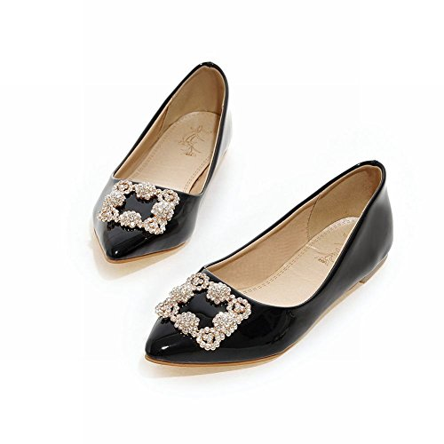 Carolbar Womens Pointed Toe Fashion Elegance Patent Leather Rhinestones Loafers Flats Black keKzMWu
