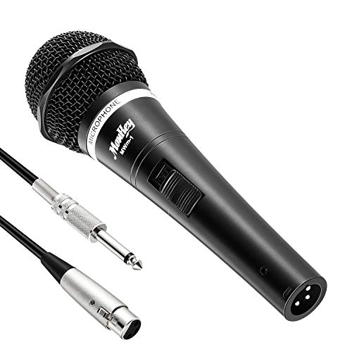 1 Wired Karaoke Microphone - Moukey MWm-1 Dynamic Vocal Microphone Metal Wired Handheld Mic for Singing/Karaoke/Live Performance with 16.40 ft XLR Cable