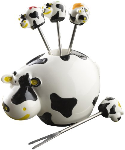 Boska Holland Dutch Collection 7 Piece Cow Party Pick Set -