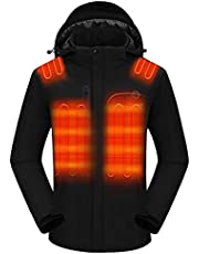 Venustas Men's Heated Jacket with Battery pack 7.4V, Windproof Electric Insulated Coat with Detachable Hood