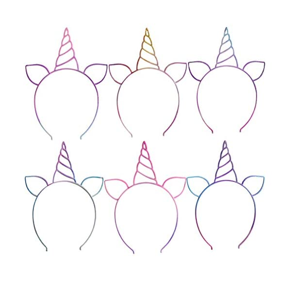18pcs Glitter Rainbow Unicorn Headband for Unicorn Theme Birthday Party Supplies Favors, Gifts, Baby Shower, Halloween… 8
