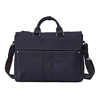 Image of Multi-function Premium Leather Briefcase 15.6 Inch Laptop Bag, Vintage Handcrafted Business Handbag Shoulder bag For Men Briefcases