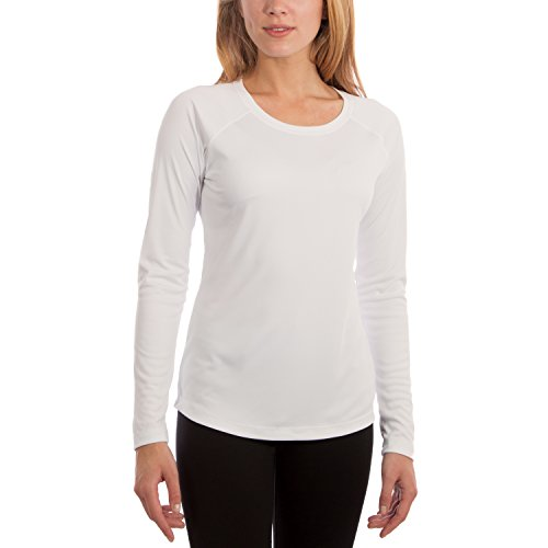 Vapor Apparel Women's UPF 50+ UV Sun Protection Performance Long Sleeve T-Shirt Small White Bust Travel White T-shirt