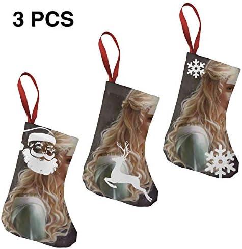 クリスマスの日の靴下 (ソックス3個)クリスマスデコレーションソックス 音楽Elle Fanning クリスマス、ハロウィン 家庭用、ショッピングモール用、お祝いの雰囲気を加える 人気を高める、販売、プロモーション、年次式