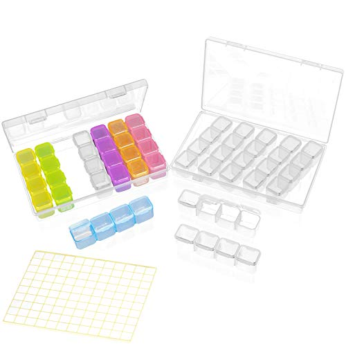 ADVcer 2 Pack 28 Grids Diamond Painting Bead Storage Containers Box with 120 Label Stickers - Total 14 Individual Removable Organizer Rows of 4 Conjoined Embroidery Gems Divider Bins (Mix, -