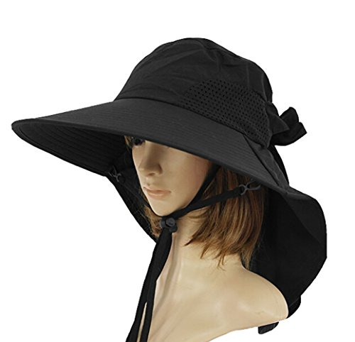bb3c61b6d0e KM Women Outdoor UV Protection Sun Shade Wide Brim Sun Hat Beach Hat With Ponytail  Opening M (Black) - Buy Online in KSA. Apparel products in Saudi Arabia.