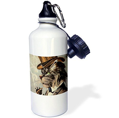 3dRose Top Cat Smoking-Sports Water Bottle, 21oz (wb_172541_1), 21 oz, Multicolored