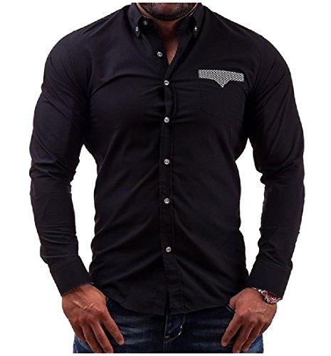 Comfy Mens Simple Slim Fit Long Sleeve Pocket Dress Shirts Black XLarge