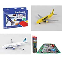 "Toy Airplane Playset - Airport Playmat with Three 5.5"" Diecast Model Planes & Accessories - Southwest, Spirit, Jetblue Airlines"