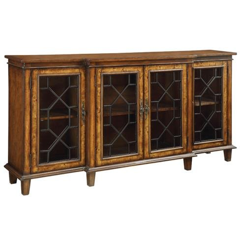 46242 Credenza with Breakfront Design 4 Glass Inset Doors Featuring Chinese Chippendale Front Work (Breakfront Credenza)