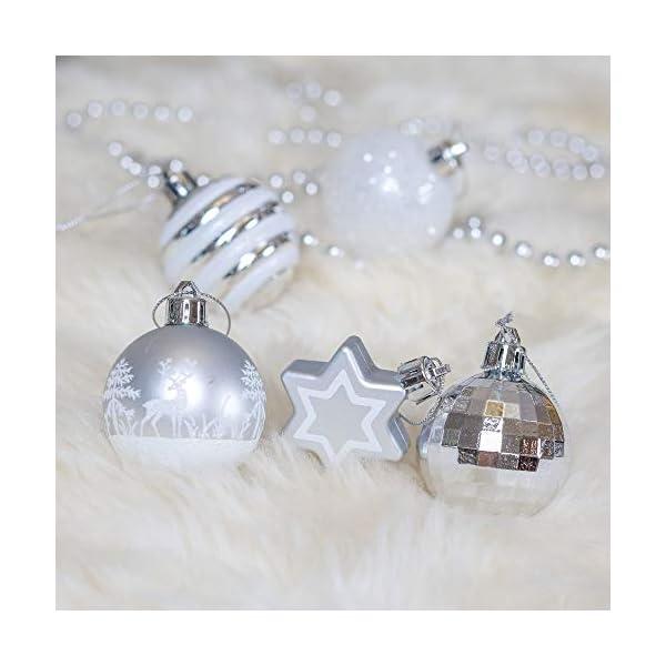 Victor's Workshop Addobbi Natalizi 35 Pezzi 5cm Palle di Natale, Frozen Winter Silver e White Shatterproof Christmas Ball Ornaments Decoration for Christmas Tree Decor 7 spesavip