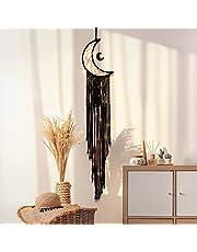 KHOYIME Moon Dream Catcher Macrame Wall Hanging - Bohemian Home Decor Handmade Woven Decoration for Kids Room Home Wedding Ornament Craft Gift
