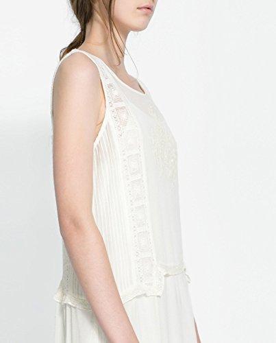 Zara crema de color marfil cortinas de encaje Summer tamaño vestido Midi: tamaño grande