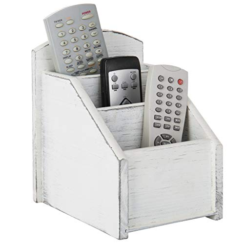 - MyGift Vintage White Wood 3-Slot Remote Control Caddy