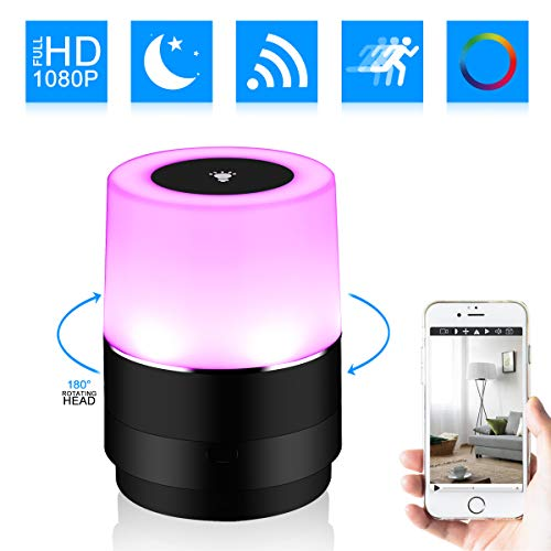 Hidden Camera Night Light WIFI Spy Camera HD 1080P Rotate 180° DVR IP Cam for Home Security Camera Wireless Nanny Cam 120°Wide Angle Night Vision and Motion Detection
