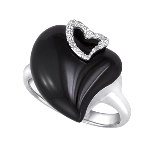Agate Topaz Ring - Sterling Silver Black Agate & White Topaz Ring