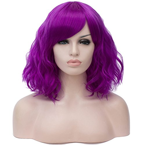 (Beauwig Short Curly Wavy Purple Wigs For Women Costume Halloween Wigs with Side Bang Come with Wig Cap)